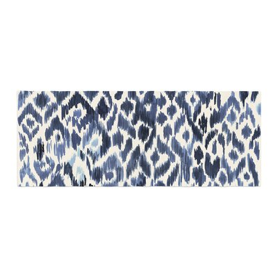 Crystal Walen Leopard Tribal Indigo Watercolor Bed Runner