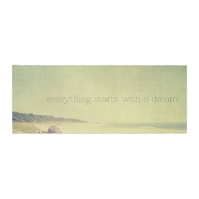 Ingrid Beddoes Everything Starts With a Dream Beach Quote Bed Runner