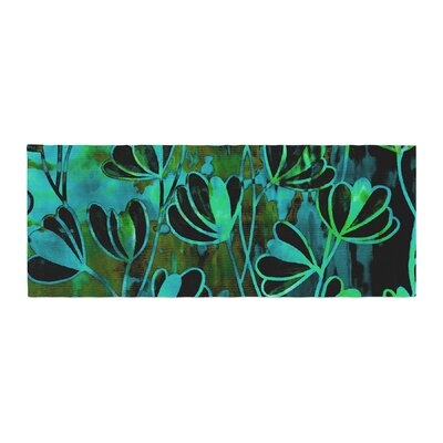 Ebi Emporium Efflorescence Bed Runner Color: Teal/Black