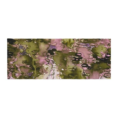Ebi Emporium Beauty in the Rain Emerald Bed Runner Color: Olive/Pink