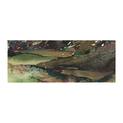 Ebi Emporium Never Leave the Path 1 Olive Watercolor Bed Runner