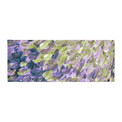 Ebi Emporium Frosted Feathers Painting Bed Runner Color: Purple/Lime
