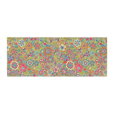 Julia Grifol My Butterflies and Flowers Floral Bed Runner Color: Green