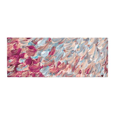 Ebi Emporium Frosted Feathers Painting Bed Runner Color: Red/Aqua