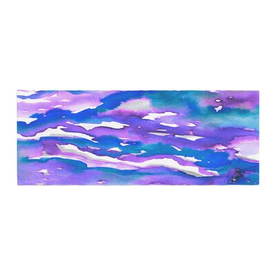 Ebi Emporium Flutter Watercolor Bed Runner Color: Blue/Purple