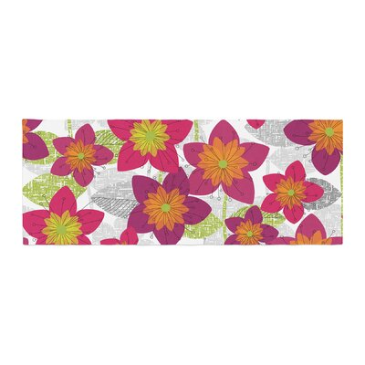 Jacqueline Milton Star Flower Floral Bed Runner
