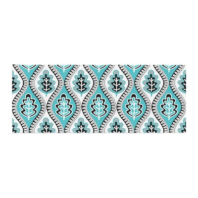 Jacqueline Milton Leaf Floral Bed Runner Color: Blue