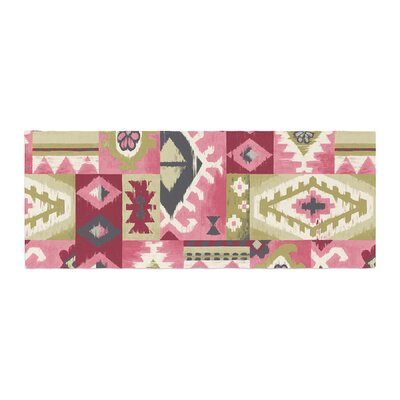 Jacqueline Milton Tribal Patch Painting Bed Runner Color: Red Pink