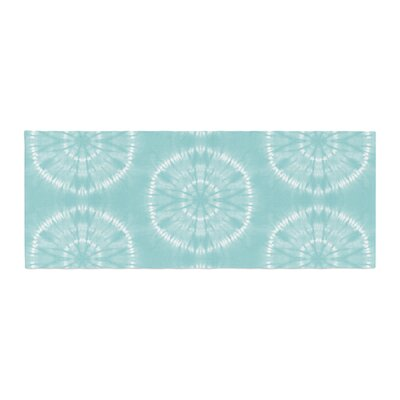 Jacqueline Milton Shibori Circles Mixed Media Bed Runner Color: Teal