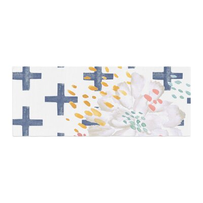 Jennifer Rizzo Bright and Pretty Floral Bed Runner Color: Navy