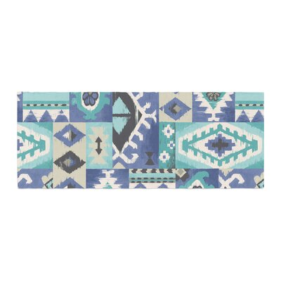 Jacqueline Milton Tribal Patch Painting Bed Runner Color: Blue Teal