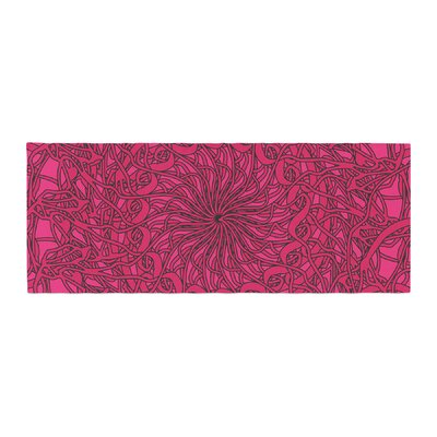 Patternmuse Mandala Spin Geometric Bed Runner Color: Berry