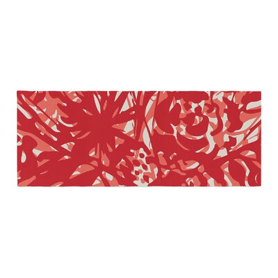 Patternmuse Inky Floral Painting Bed Runner Color: Red/Coral