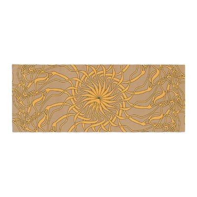 Patternmuse Mandala Spin Geometric Bed Runner Color: Latte