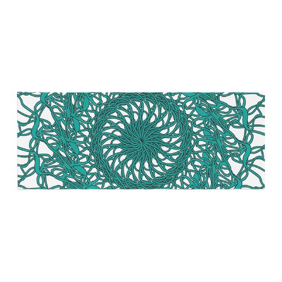 Patternmuse Mandala Spin Geometric Bed Runner Color: Jade