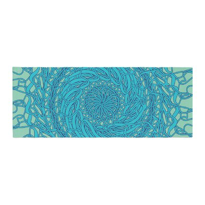 Patternmuse Mandala Spin Geometric Bed Runner Color: Mint