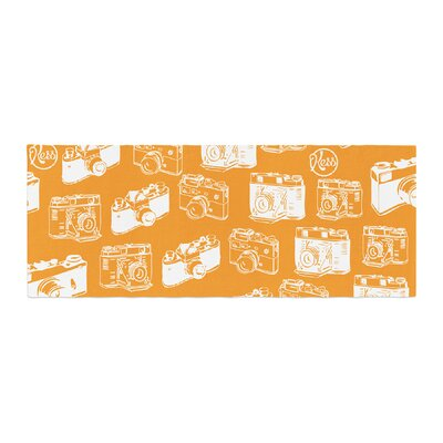 Camera Pattern Bed Runner Color: Orange