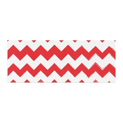Candy Cane Chevron Bed Runner Color: Red
