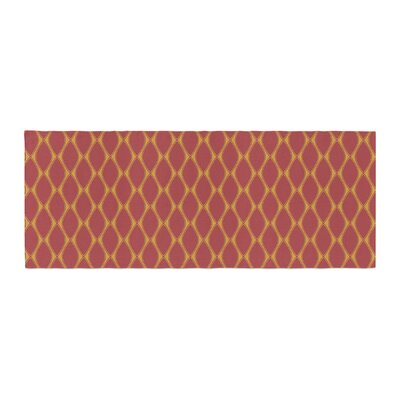 Nandita Singh Marsala and Mustard Pattern Bed Runner Color: Mustard