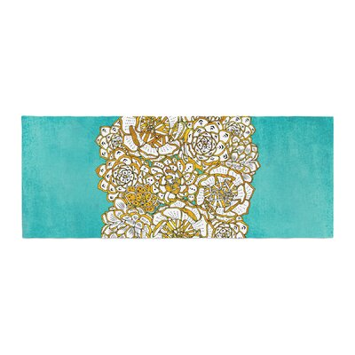 Pom Graphic Design Bohemian Succulents II Floral Bed Runner Color: Teal/Gold