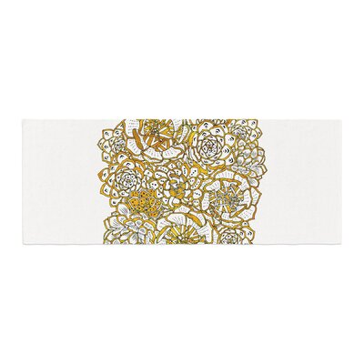 Pom Graphic Design Bohemian Succulents II Floral Bed Runner Color: Gold/White