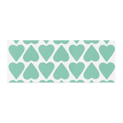 Project M Mint Up and Down Hearts Bed Runner Color: Mint/White