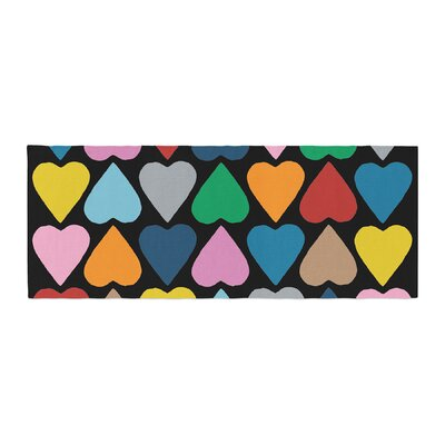 Project M Mint Up and Down Hearts Bed Runner Color: Rainbow/Black