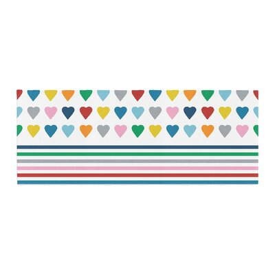 Project M Heart Stripes Shapes Lines Bed Runner Color: Rainbow