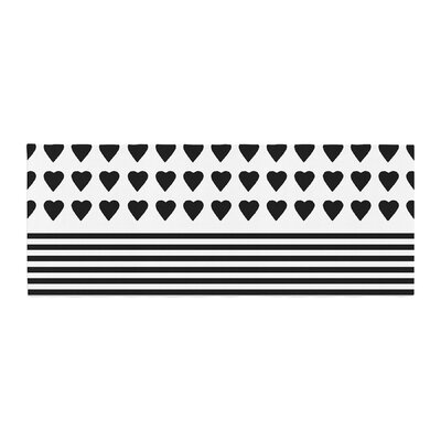 Project M Heart Stripes Shapes Lines Bed Runner Color: Black