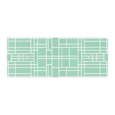 Project M Map Outline Simple Geometric Lines Bed Runner Color: Mint