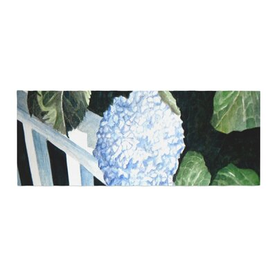 Rosie Brown Hydrangea Floral Watercolor Bed Runner