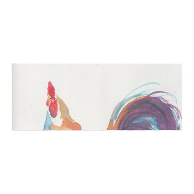 Rebecca Bender Watercolor Rooster Bird Bed Runner