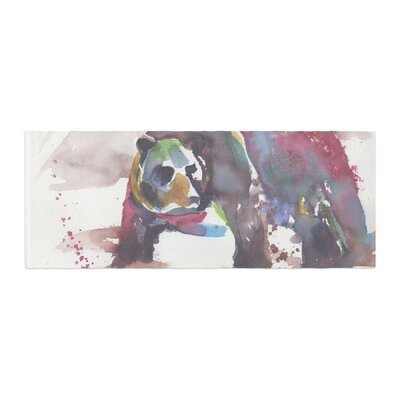 Rebecca Bender Grizzly Bear Watercolor Abstract Animal Bed Runner