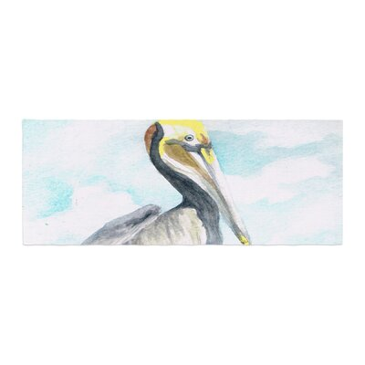 Rosie Brown Pelican Coastal Watercolor Bed Runner