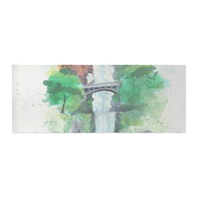 Rebecca Bender Multnomah Falls Watercolor Painting Bed Runner