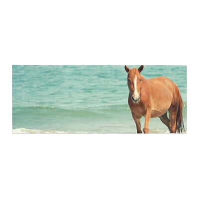 Robin Dickinson Wild Mustang of Carova Horse Ocean Bed Runner
