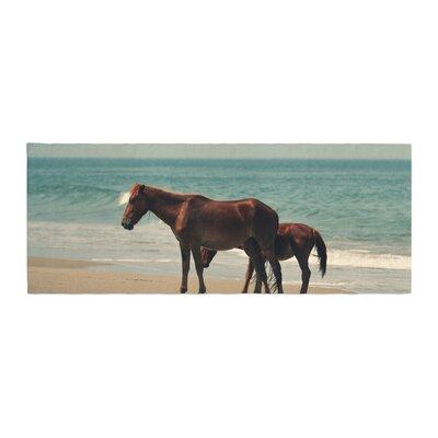 Robin Dickinson Sandy Toes Beach Horses Bed Runner