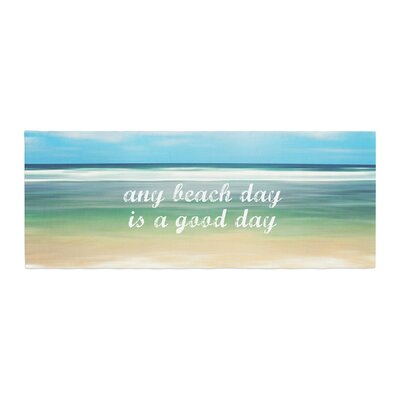 Sylvia Cook Any Beach Day Coastal Typography Bed Runner