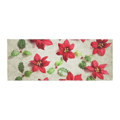 Sylvia Cook Poinsettia Holiday Leaves Bed Runner