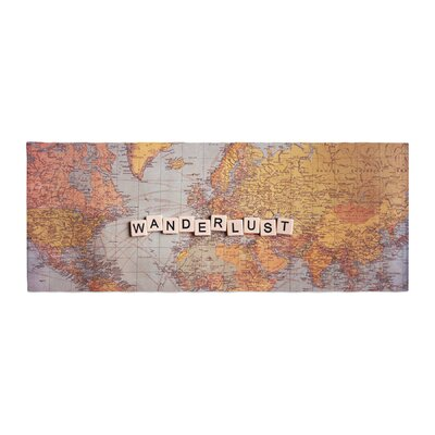 Sylvia Cook Wanderlust Map World Bed Runner