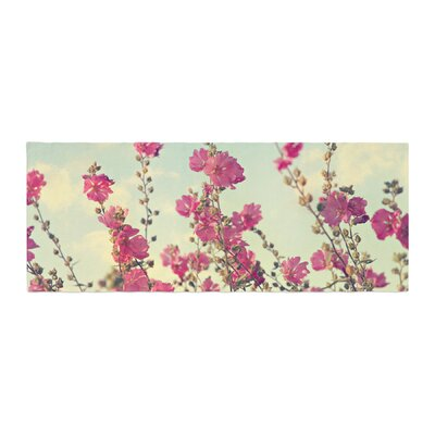 Sylvia Cook Lavatera Flowers Sky Bed Runner