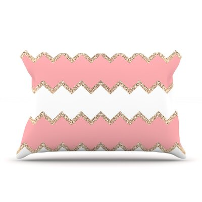 Monika Strigel Avalon Chevron Rose Pillow Case Color: Blush/White