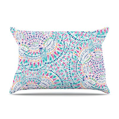 Miranda Mol Kaleidoscopic Geometric Pillow Case Color: White/Aqua
