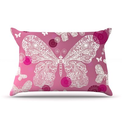 Monika Strigel Butterfly Dreams Coral Pillow Case Color: Magenta