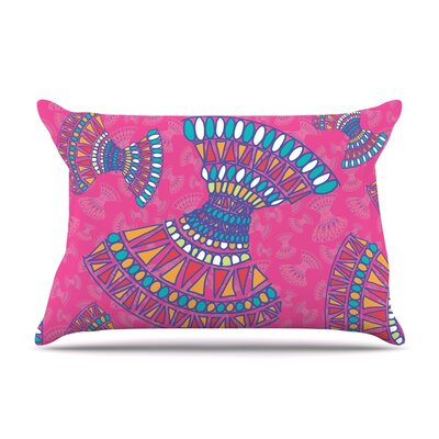 Miranda Mol Tribal Fun Orange Abstract Pillow Case Color: Pink