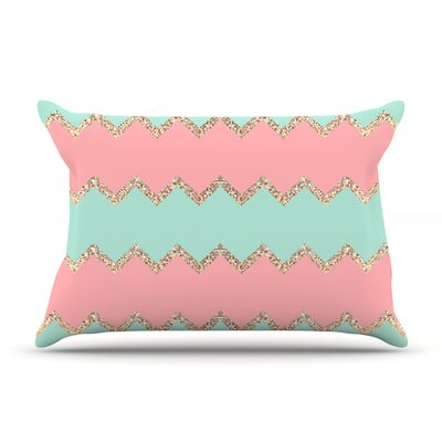 Monika Strigel Avalon Chevron Rose Pillow Case Color: Orange/Green