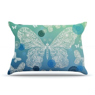 Monika Strigel Butterfly Dreams Coral Pillow Case Color: Blue/Green