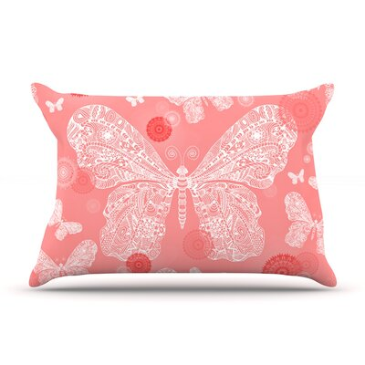 Monika Strigel Butterfly Dreams Coral Pillow Case Color: Pink/White