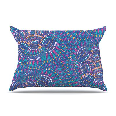 Miranda Mol Kaleidoscopic Geometric Pillow Case Color: Blue