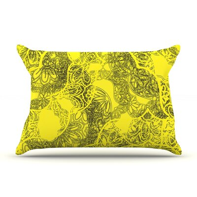 Patternmuse Mandala Lemon Pillow Case Color: Yellow